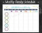 "Personalized Weekly Family Schedule 2017 Calendar or Chore Chart Printable PDF - 8.5"" x 11"" A4 Letter Size"