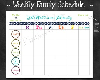 family weekly schedule