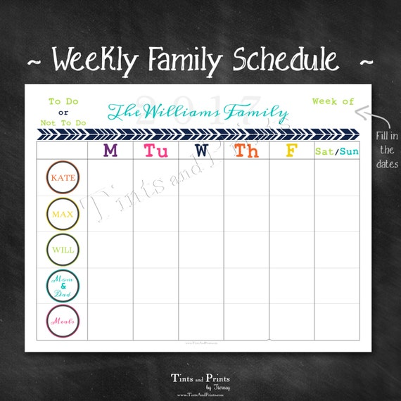Personalized Weekly Family Schedule 2017 Calendar Or Chore
