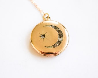 Antique Locket / Victorian Moon and Star Locket c.1880s