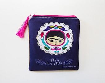 Frida Kahlo purse, original illustration. Frida Kahlo purse, Frida Kahlo bag, Frida purse, tehuana.