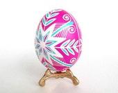 Pâques Colored Easter egg  Pysanka batik egg on chicken egg shell where to buy Ukrainian Easter Eggs traditional Slavic Easter decor in pink