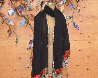 Stunning Black Sheer Shawl Wrap With Dramatic Beautiful Red Floral Embroidered Detail At Ends