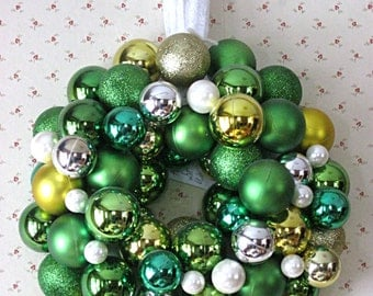 Green Christmas ornament wreath, St. Patrick's Day wreath, lightweight holiday wreath, touches of gold, silver, and pearl, lace hanger