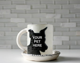 Espresso Pet Mug | coffee mug tea cup with saucer | created from your photo | personalized custom portrait gift idea | dog cat animal lover