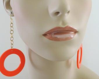 Vintage Earrings - Orange Earrings - Chain Earrings - Statement Earrings - Boho Earrings - Long Earrings - handmade jewelry