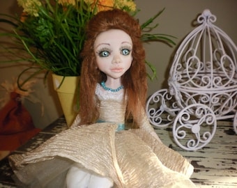 OOAK Polymer clay pose able art doll cloth body interior collectible art doll Christmas gift