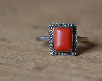 Vintage Art Deco 1930s coral and marcasite European silver dress ring