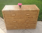 """VINTAGE RATTAN CHEST / 42"""" Long Rattan Chest of Drawers / Rattan Dresser / Cottage Island Style / Wrapped Rattan Chest at Retro Daisy Girl"""
