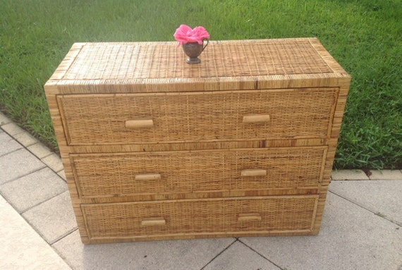 vintage rattan chest 42 long rattan chest of drawers. Black Bedroom Furniture Sets. Home Design Ideas