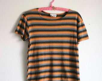 90's Striped Shirt Orange Gray and Black