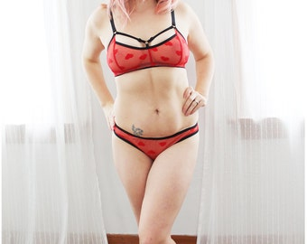 Bright Red Sheer 'Cinnamon Hearts' Strappy Lingerie Set Handmade to Order