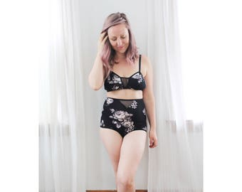 Black Floral 'Prism' High Waist Panties with Sheer Mesh Detail Handmade Boudoir Lingerie