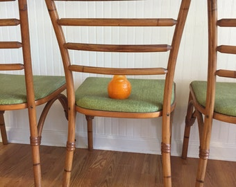 HEYWOOD WAKEFIELD BENTWOOD Chairs 2 Sold Separately! Rattan and Bentwood, Mid Century Modern Palm Beach Chic Vintage Florida at Modern Logic