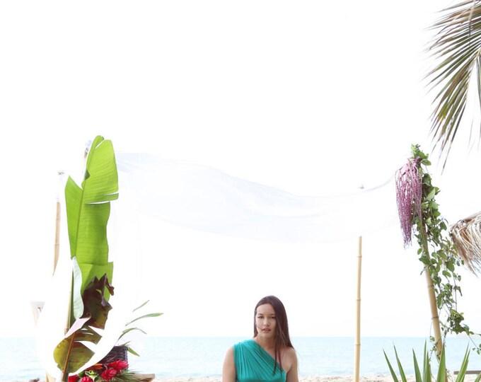"Ready Made Plus Size 48"" Long- Laguna Pool Blue/ Green- Silky Satin Jersey- Octopus Convertible Infinity Wrap Dress"
