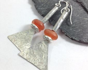 Carnelian and sterling silver long tribal earrings
