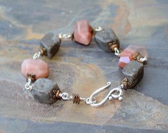 Rustic Stone Bracelet, Peach Moonstone Bracelet, Pyrite Bracelet, Natural Stone Bracelet, Peach Bracelet, Brown Bracelet, Raw Stone Bracelet