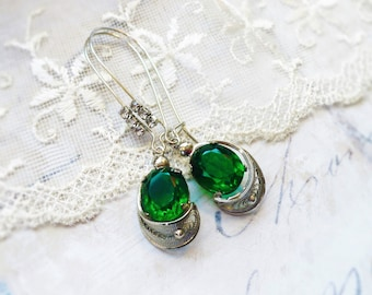 Emerald Isles, Vintage Upcycled Emerald Green Oval Jewels Set Filigree Silver,French Rhinestone Wire Earrings by Hollywood Hillbilly