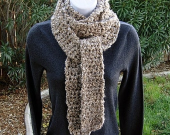 Extra Long & Skinny Scarf, Tan Beige Off White Gray Grey, More Color Options, Soft Crochet Knit Narrow Chunky Thick Bulky Winter Womens Wrap