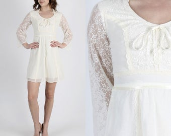 Bohemian Dress 70s Dress Boho Wedding Dress Hippie Dress Festival Dress Vintage 70s Boho Lace Dress Hippie Bell Sleeve Prairie Mini S