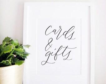 Wedding Sign Calligraphy Print - Wedding Reception Decor - Reception Sign - Wedding Decor - Cards and Gifts
