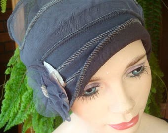 Womens Chemo Hat Chemo Headwear soft Flapper grey Chemotherapy Alopecia Beanie with Flower