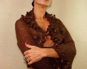 Brown Shrug and Bolero, Knit Shrug, Crochet Shrug, 3/4 Sleeve Knit Flower Bolero, Luxury Evening Bolero with Crystal Swarovski / SALE