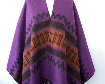 Fringe poncho Winter accessories Long poncho Southwestern South american Winter wrap Blanket poncho Native clothing Large shawl Dark purple