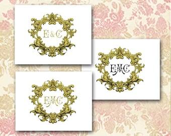 Ornate Gold Frame, Custom Initials, Rococo, Baroque, Wedding Stationery, Couple Cards, Thank You, Bride Bridal, Made to Order, Wedding Logo