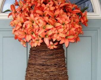 Spring Wreath - Spring Lily Basket - Spring Door Basket