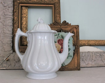Large Antique English Jacob Furnival White Ironstone Teapot Coffee Pot