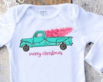 Merry Christmas Onesies® For Girls, Pink and Aqua Christmas, Country Truck Onesie, Merry Christmas Shirt, Turquoise Truck Onesie, Baby Gift