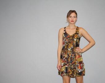 Vintage 1990s Novelty Big Cat Tiger Lion Leopard Print Dress - 90s  Short Dress - Vintage Nineties Dresses  - W00022