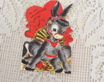Vintage 1950s Valentine Card Donkey Mule Collectible Paper Ephemera Arts Crafts Scrap Booking