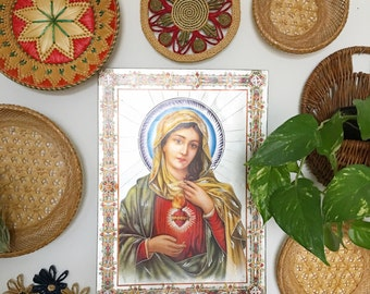Virgin Mary etched metal wall hanging, vintage saint wall hanging