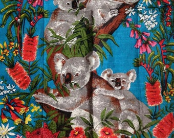 Vintage Koala and Wildflowers Souvenir Tea Towel from Red Cliffs Victoria Australia Pure Linen Designed by Leil Linen from Poland