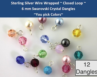 12 CLOSED LOOP  sterling silver wire wrapped Swarovski 6mm crystal or pearl round dangles- charms- drops- for bracelets, necklaces, earrings