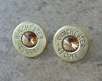 Winchester 45 Colt Brass Bullet Earring, Lightweight Thin Cut, Light Topaz Swarovski Crystal, Surgical Steel Post - 413