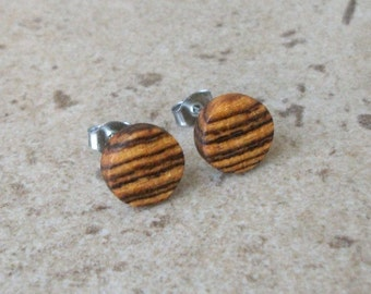 "Bocote Wood Stud Earring, Handmade Wood Earring, Nickel free Posts , 3/8""(*10mm) - 243"