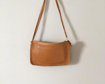 SALE...mustard leather messenger bag | vintage shoulder cross body bag