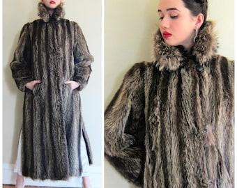 Vintage 1970s Designer Yves Saint Laurent Raccoon Fur Coat / 70s Long Fur Coat YSL / AS IS