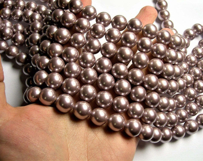 Shell pearl 14mm round lavender pearl 1 full strand - 29 beads - SPT51