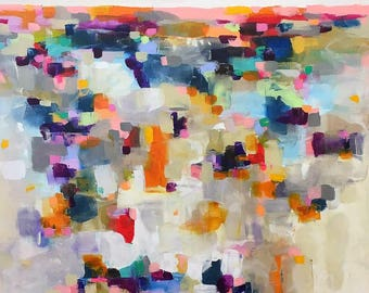 Abstract Colorful Landscape Painting Original Art -Mosaic Landscape Brights 40 x 60