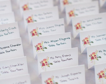 Floral Spring Wedding Folded Place Cards - Party Place Cards, Wedding Place Cards, Wedding Escort Cards, Table Decorations, Spring Wedding