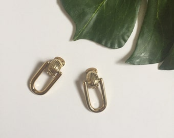 90s door knocker gold CLIP ON earrings one size baroque style hip hop high fashion womens vintage large dangle drop earring