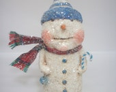 Snowman-Paper Mache-Folk Art -Whimsical