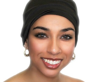 Chemo Hat, Sleep Hat, Alopecia Cap, Cloche, Scarf Liner, Slouch Hat, Dark Chocolate Brown, Modal Knit, 299-43