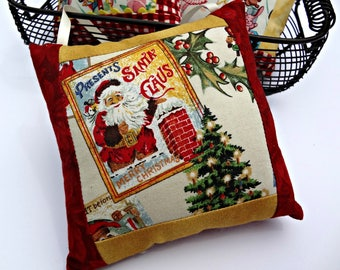 Merry Christmas Hanging Pillow | Holiday Decor | Retro | Vintage| Holiday Ornament Accent | Santa | Holly | Christmas Tree | Poinsettia |