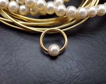 "16g 14g 3/8"" (10mm) White Glass Pearl Gold Captive Bead Ring Hoop Helix Ring Tragus Cartilage Navel Ring Septum 316lvm Steel"