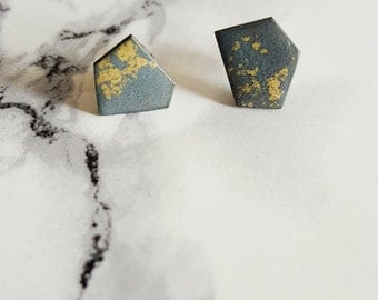 Enamelled Copper Geo Stud in Charcoal & Gold